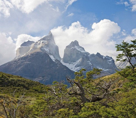 Stock Photo: 1848R-365050 The peaks of Los Cuernos, Torres del Paine National Park, Patagonia, Chile, South America