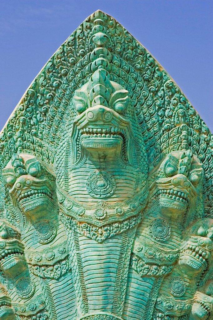 Naga sculpture, Hindu and Buddhist snake deity, Asia : Stock Photo