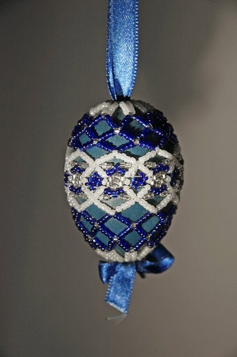 Handmade Easter egg decorated with beads, folk art, Transylvania, Hungarian art : Stock Photo