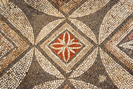 Colourful mosaic floral and geometric pattern at archaeological site of early Christian basilica Agia Trias North Cyprus : Stock Photo