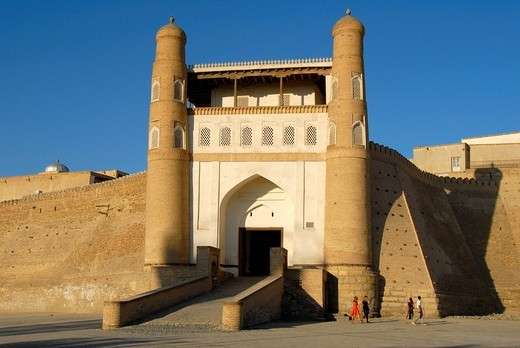 Entrance portal to the Ark Fortress Bukhara Uzbekistan : Stock Photo