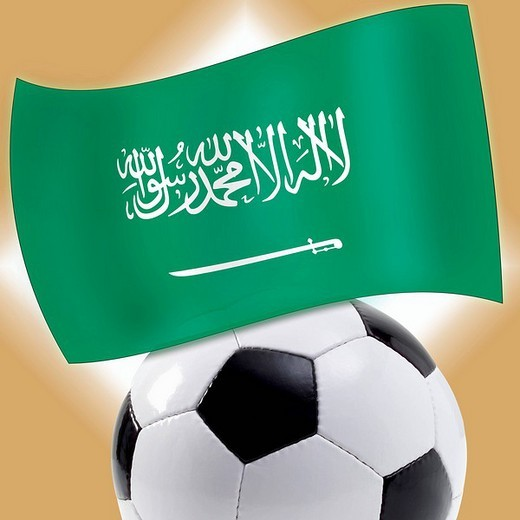 Football with Saudi flag : Stock Photo