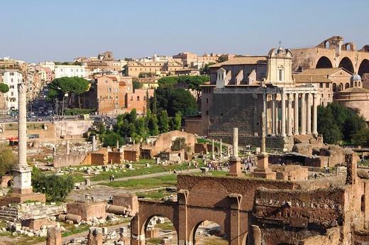 Forum Romanum Phocas column Temple of Antoninus and Faustina Rome Italy : Stock Photo