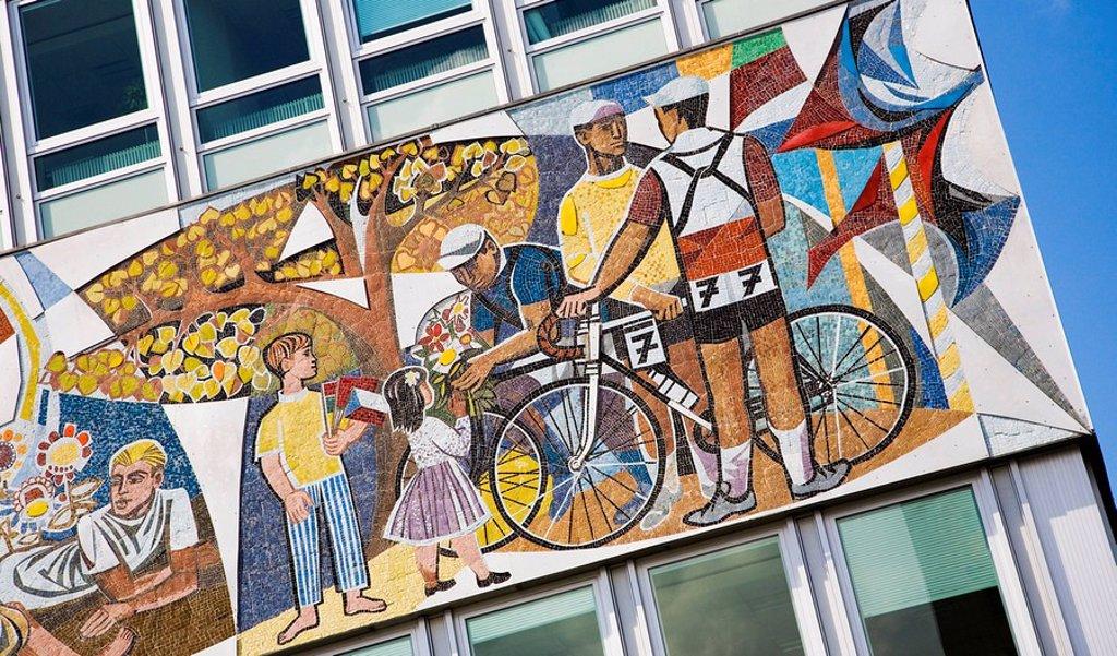 Mosaic on a house wall, Alexanderplatz Square, Berlin, Germany, Europe : Stock Photo