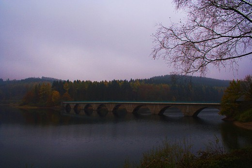 Stock Photo: 1848R-373355 Versetalsperre dam in the early morning, Sauerland, North Rhine-Westphalia, Germany, Europe