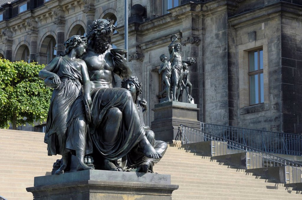 Steps with figures, daytimes, Bruehlsche Terrasse, Dresden, Saxony, Germany, Europe : Stock Photo