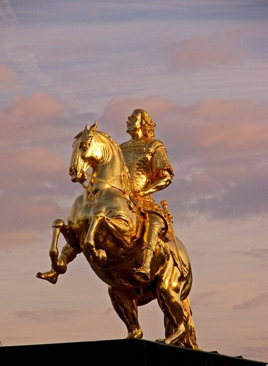 BRD Germany Sachsen Dresden Capitol at the River Elbe the Elb Florenc August the Strong Golden Horseman Memorial Golden Horseman : Stock Photo