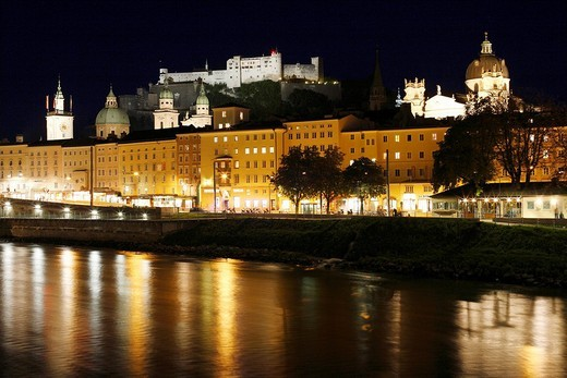 Stock Photo: 1848R-375703 View over Salzach of the historic district of Salzburg with town hall, cathedral, Kollegienkirche Church and Festung Hohensalzburg Fortress, night shot, Salzburg, Austria, Europe