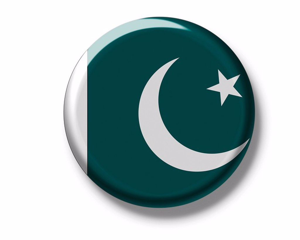Stock Photo: 1848R-375823 Button badge, flag of Pakistan