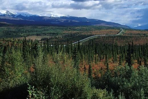 Stock Photo: 1848R-376588 Oil pipeline stretching through the Alaskan wilderness, Indian Summer, Alaska, North America