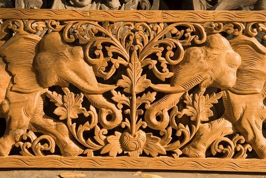 Teak wood carving, Mandalay, Myanmar : Stock Photo