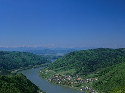 View from the castle ruin Aggstein to the Danube with the village of Aggsbach Markt Wachau Lower Austria : Stock Photo