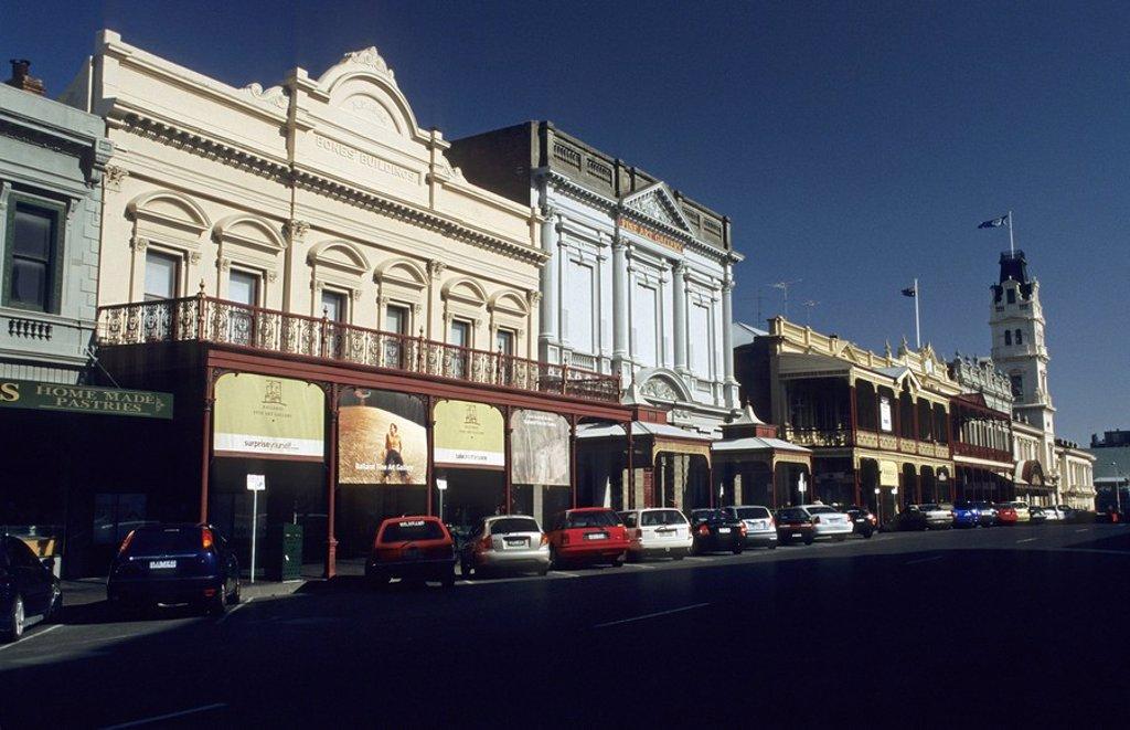 Stock Photo: 1848R-377403 Historic buildings in the main street of Ballarat, Victoria, AUS