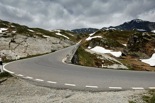 Stock Photo: 1848R-378015 Mountain pass at San Bernadino Pass, Grisons, Switzerland, Europe
