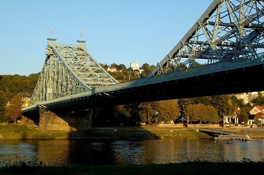 Bridge Blaues Wunder over river Elbe Dresden Saxony Germany : Stock Photo