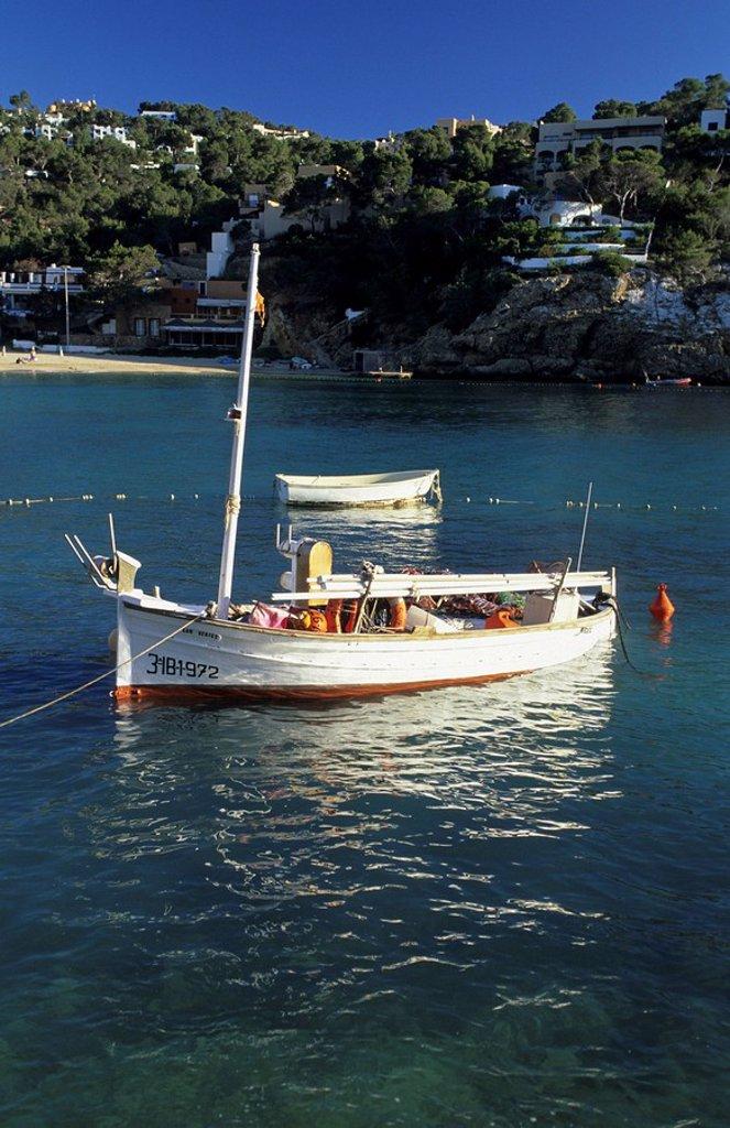 Fishing boat at Cala Vadella, Ibiza : Stock Photo