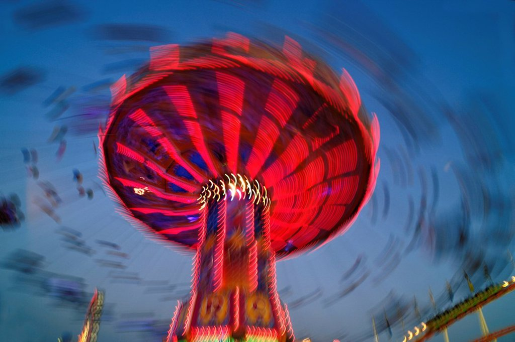 Swing carousel, Oktoberfest, Munich, Bavaria, Germany, Europe : Stock Photo