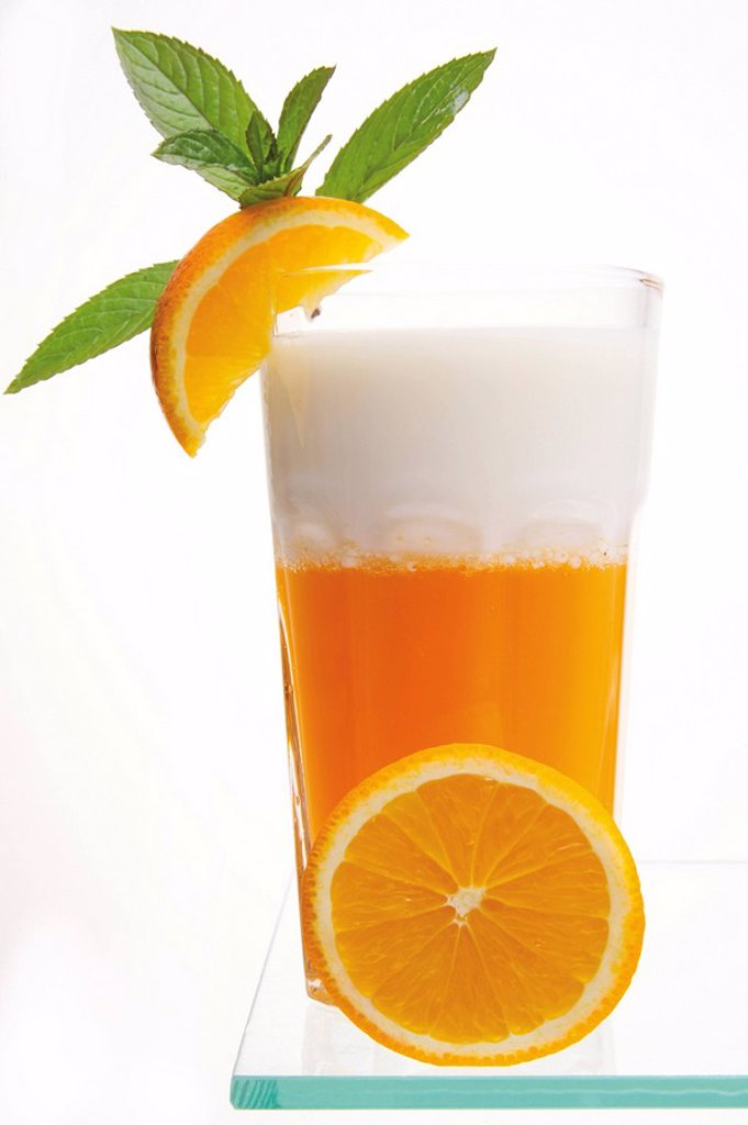 Stock Photo: 1848R-379552 Orange juice and yogurt drink