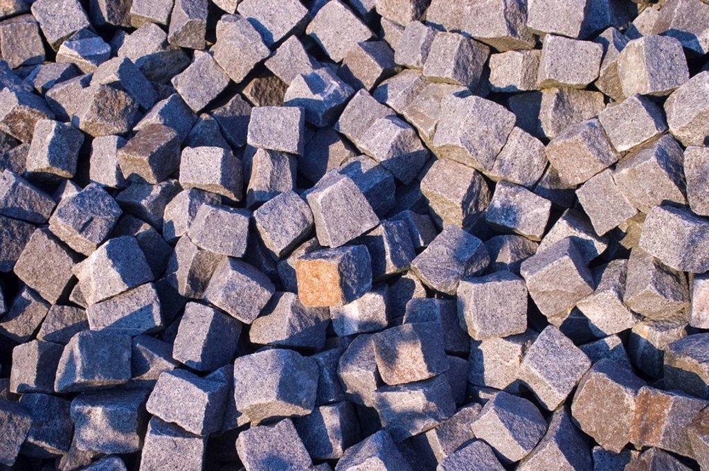 Pile of rocks for roadconstruction : Stock Photo
