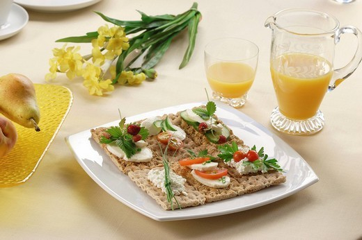 Plate with different kinds of crispbread : Stock Photo