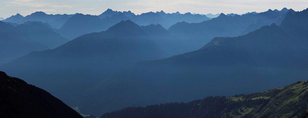 Stock Photo: 1848R-381553 Lechtal Alps blanketed in morning mist, Holzgau, Tirol, Austria, Europe