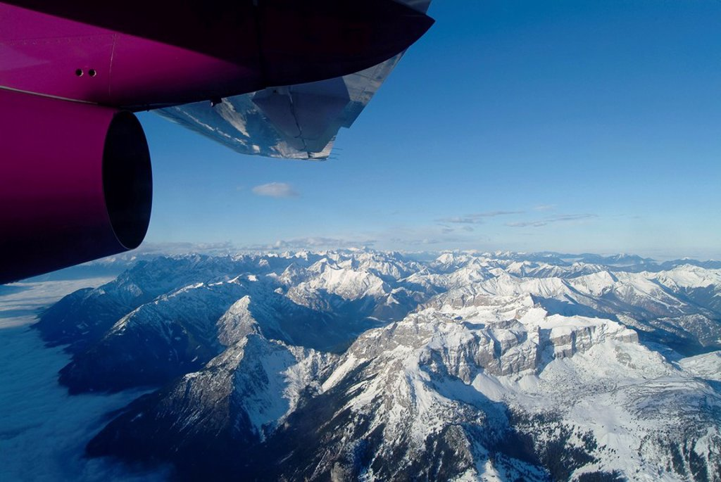 Stock Photo: 1848R-382646 View of the Tirol Alps from an airplane window, Inn Valley, Rofan Range, Tirol, Austria