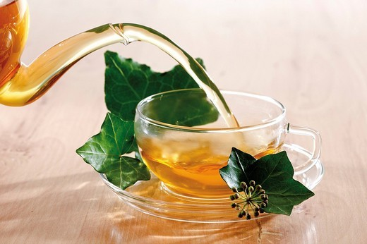 Pouring tea into glass teacup garnished with ivy leaves : Stock Photo