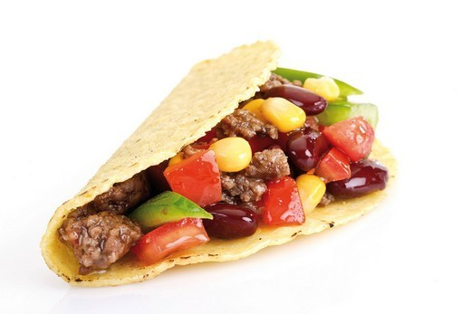 Stock Photo: 1848R-382864 Taco shell with chili con carne