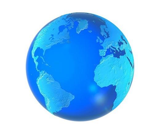 Stock Photo: 1848R-383089 Blue semi_transparent globe, 3D Illustration