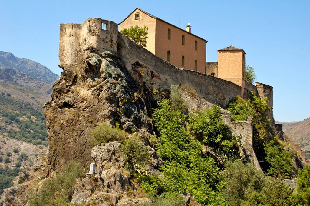 Stock Photo: 1848R-383284 The old fortress of Corte, Corsica, France