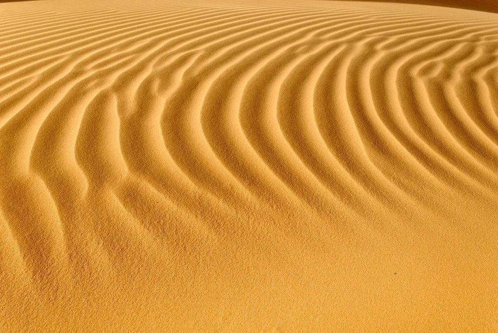 Sand dune ripples, Tin Akachaker, Tassili du Hoggar, Wilaya Tamanrasset, Algeria, Sahara, North Africa : Stock Photo