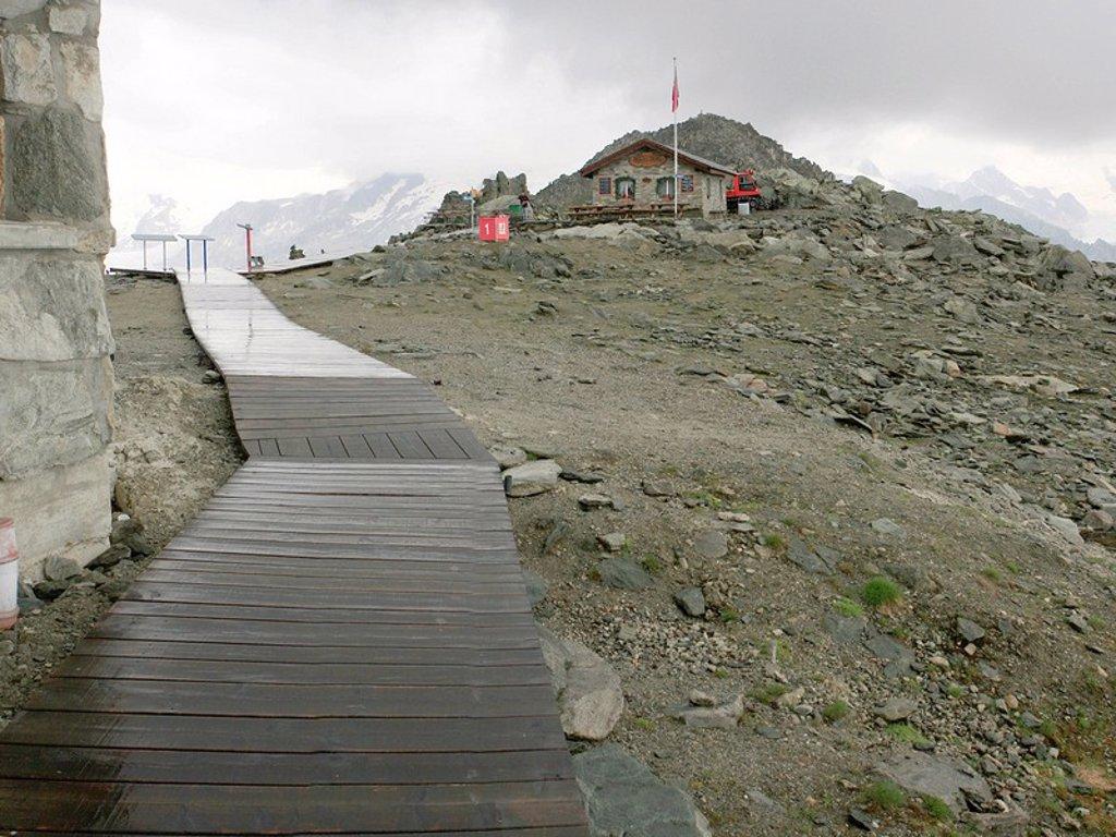 Path leading to Mt Eggishorn, Valais, Switzerland : Stock Photo