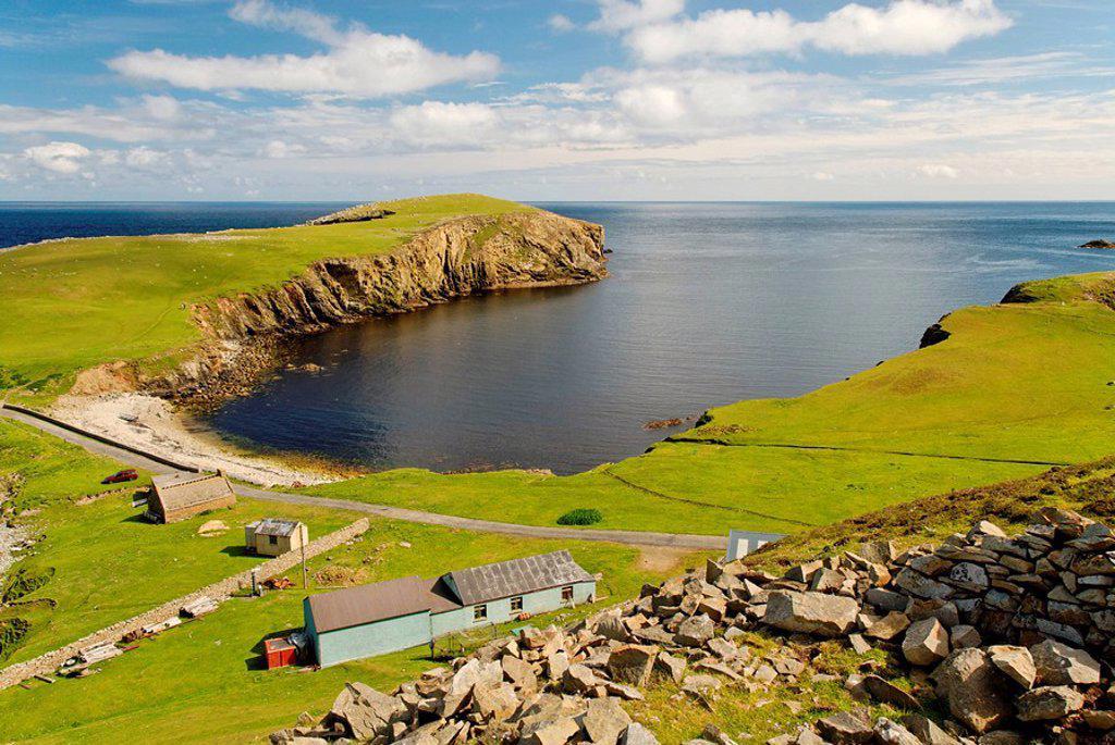 The southern harbour of Fair Isle, Shetland, Scotland, United Kingdom, Europe : Stock Photo
