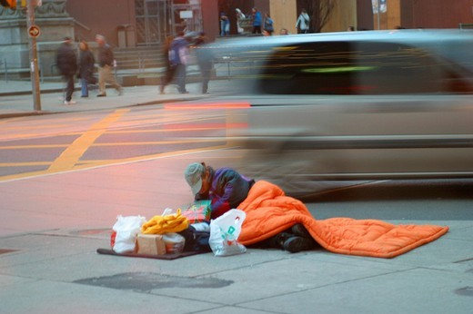 Homeless person at the roadside in Toronto Canada : Stock Photo