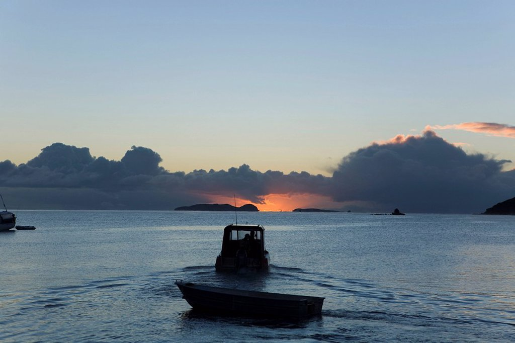 Stock Photo: 1848R-384907 Fishing boat at sunrise, Halfmoon Bay, Steward Island, New Zealand
