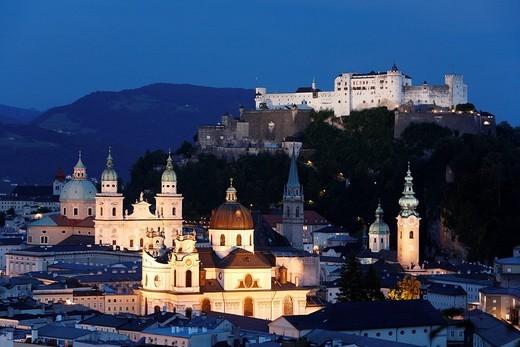 Cathedral, Kollegienkirche Church, Franciscan church, St  Peter, Festung Hohensalzburg Fortress, Salzburg, Austria, Europe : Stock Photo