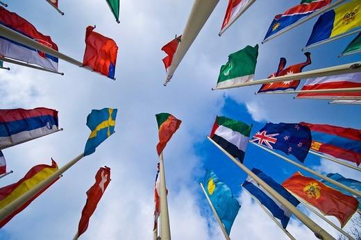 Stock Photo: 1848R-385058 International flags in front of Messe Berlin fairgrounds, Berlin, Germany
