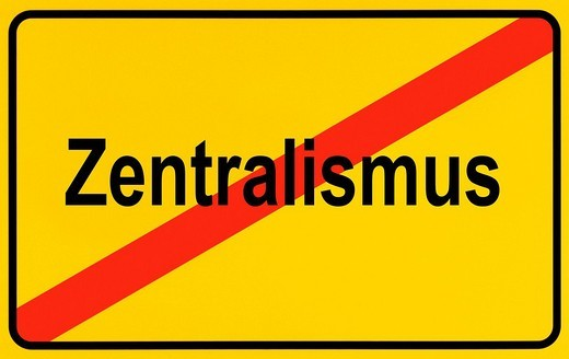German city limits sign symbolising end of centralism : Stock Photo