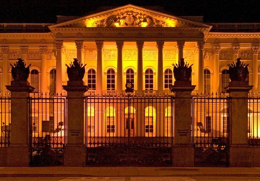 Stock Photo: 1848R-385472 White Nights, GUS Russia St Petersburg 300 years old Venice of the North Palace of Michailowski built by Carlo Rossi 1819 to 1825 now the biggest Art Colection of World of Native Art at the Evening Iluminated