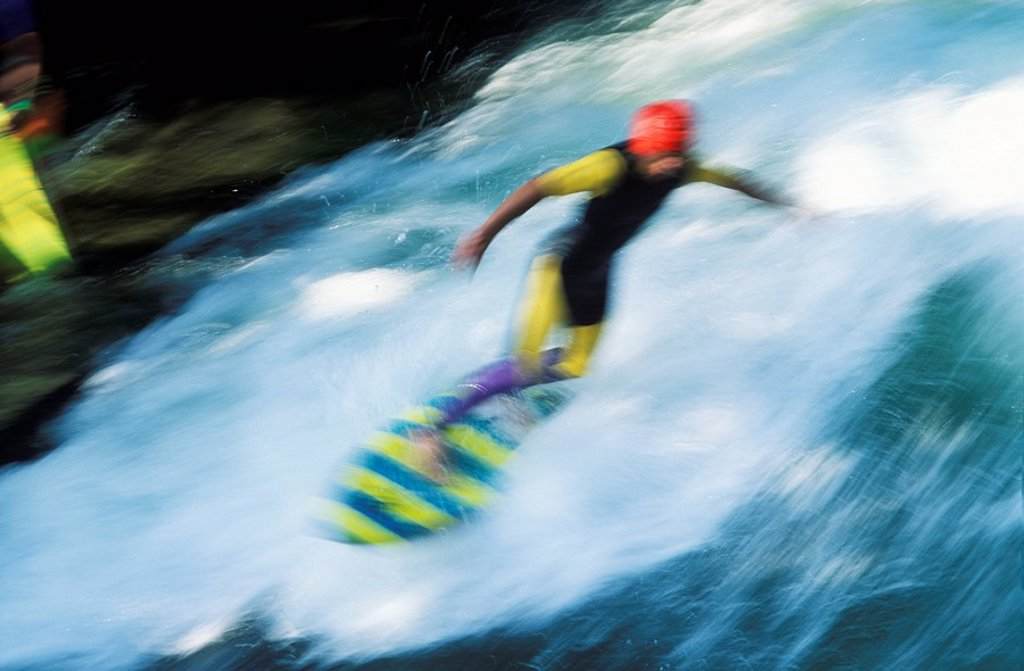 Stock Photo: 1848R-385777 Surver Eisbach next to Haus der Kunst Munich Bavaria Germany