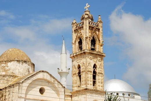 Symbolic neighbourhood church and mosque in Dipkarpaz Karpaz Peninsula North Cyprus : Stock Photo