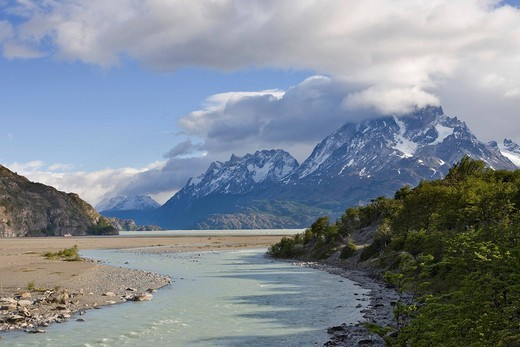 Rio Pingo and the mountain peaks of the Torres del Paine Grande at sunset, seen from the Lago Grey, Torres del Paine National Park, Patagonia, Chile, South America : Stock Photo
