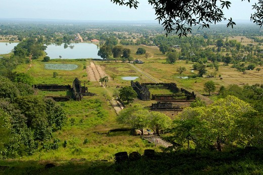 View at the archaeological site Khmer temple Wat Phu Champasak Laos : Stock Photo
