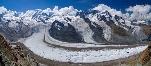 Monte Rosa Massif, Mt  Lyskamm and glacier viewed from Mt  Gronergrat, Zermatt, Valais, Switzerland : Stock Photo