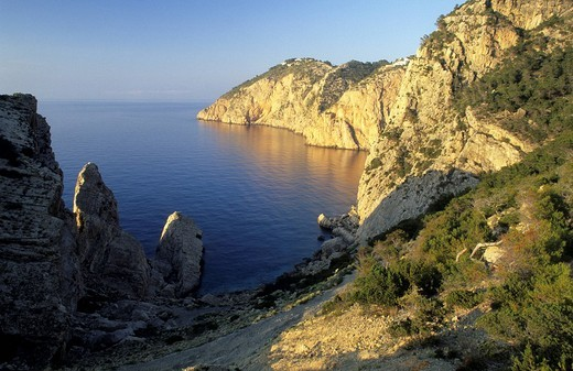Stock Photo: 1848R-387089 Northwest coast of Ibiza, cliffs at Penyal de s`Aguila