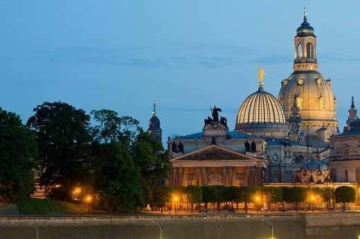 View on the baroque old part of town with at dusk, domes of Academy of Arts and church of our lady, Germany : Stock Photo