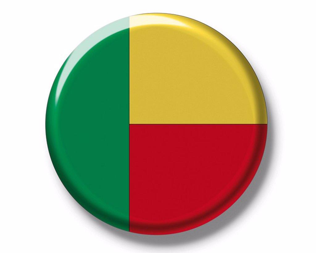 Stock Photo: 1848R-387196 Button, flag of Benin