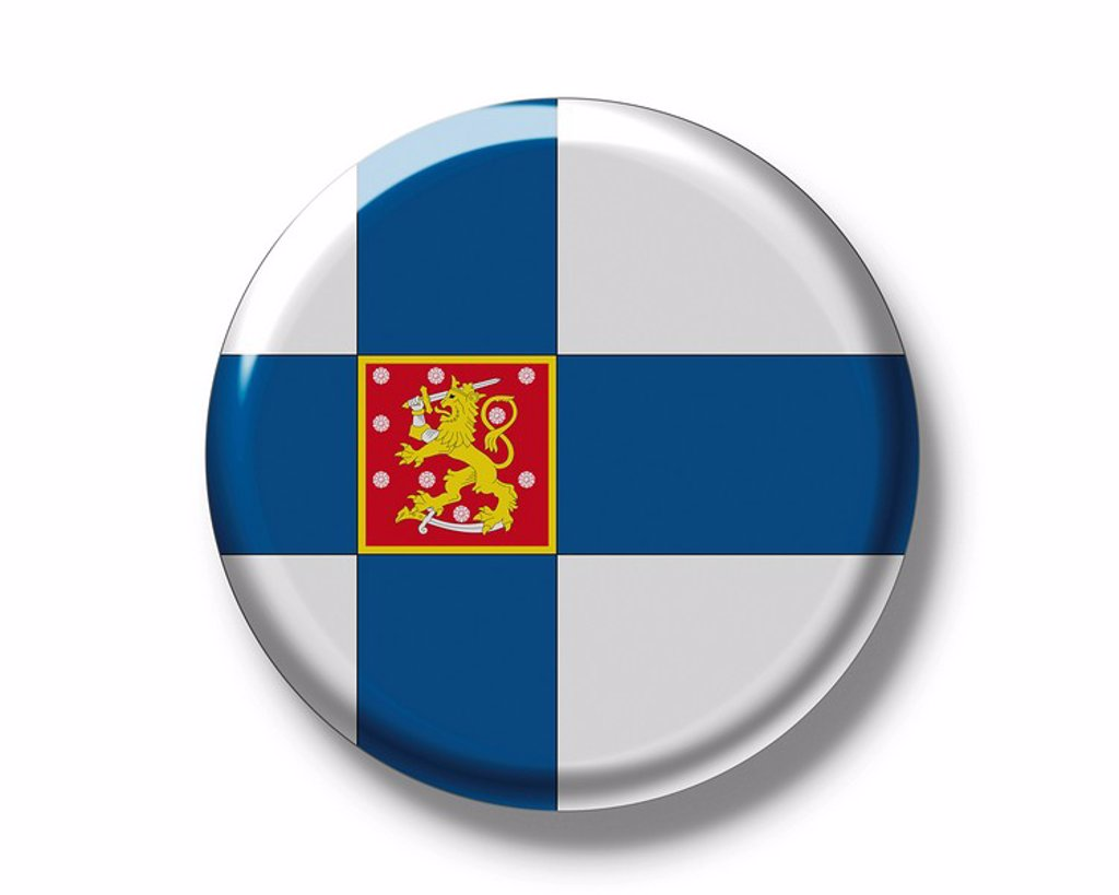 Stock Photo: 1848R-387198 Button, national flag of Finland