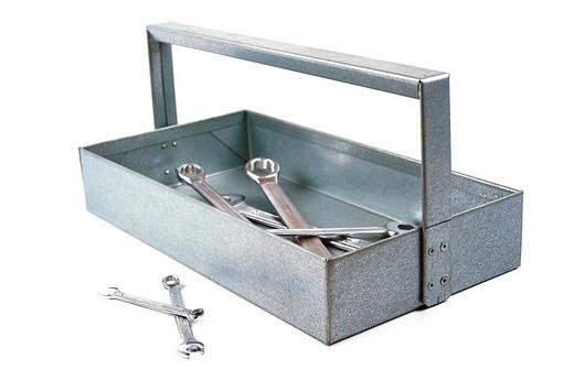 Stock Photo: 1848R-387311 Handmade tool box, apprentice´s work, made of galvanized sheet metal