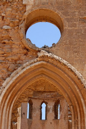 Stock Photo: 1848R-387473 Detail of the ruin close to former St  Nicholas Cathedral now Lala Mustapha Pasha Mosque with square Famagusta Gazimagusa North Cyprus